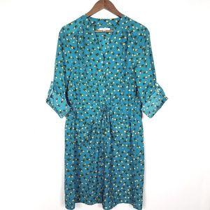 Spense Teal Pineapple Printed Shirt Dress